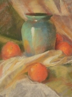 blue vase with oranges  17 x 22  pastel  sold