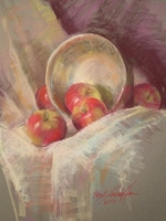silver bowl and macs  17×22 pastel  sold