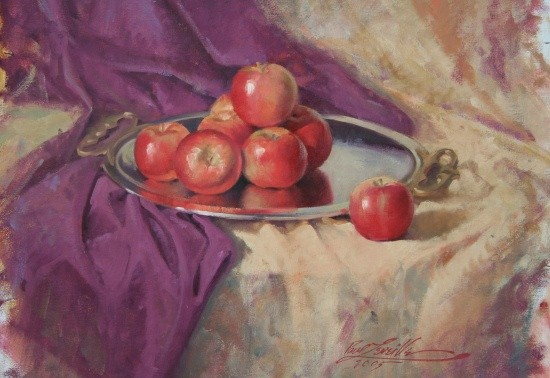 silver tray & apples